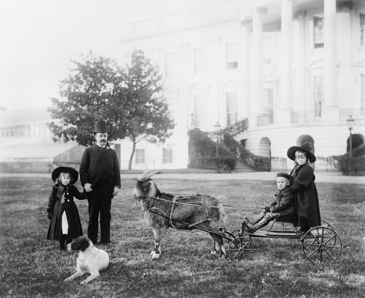 Major Russell Harrison, son of U.S. President Benjamin Harrison, with his daughter Marthena and neph...