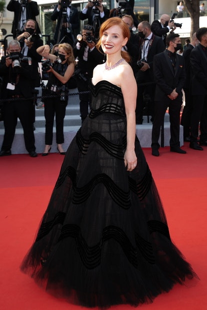 """CANNES, FRANCE - JULY 06: Actress Jessica Chastain attends the """"Annette"""" screening and opening cerem..."""