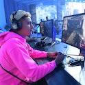 LOS ANGELES, CA - AUGUST 01:  Basketball star Kyle Kuzma plays the new the Call of Duty: Modern Warf...