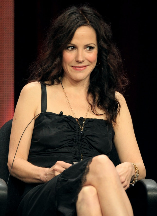 """LOS ANGELES, CA - JULY 30:  Actress Mary-Louise Parker speaks at the """"Weeds"""" discussion panel during..."""