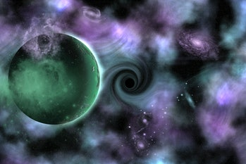 A rogue planet being pulled into a black hole.