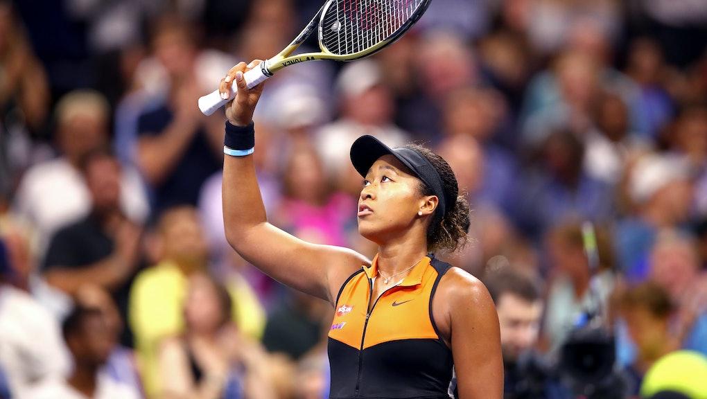 NEW YORK, NEW YORK - AUGUST 31: Naomi Osaka of Japan celebrates winning after her Women's Singles th...