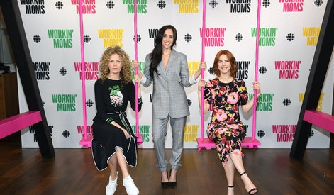 """TORONTO, ON - MARCH 06: Juno Rinaldi, Catherine Reitman and Dani Kind attend CBC Presents: A Night Out With """"Workin Moms"""" at TIFF Bell Lightbox on March 6, 2018 in Toronto, Canada.  (Photo by GP Images/Getty Images for CBC)"""