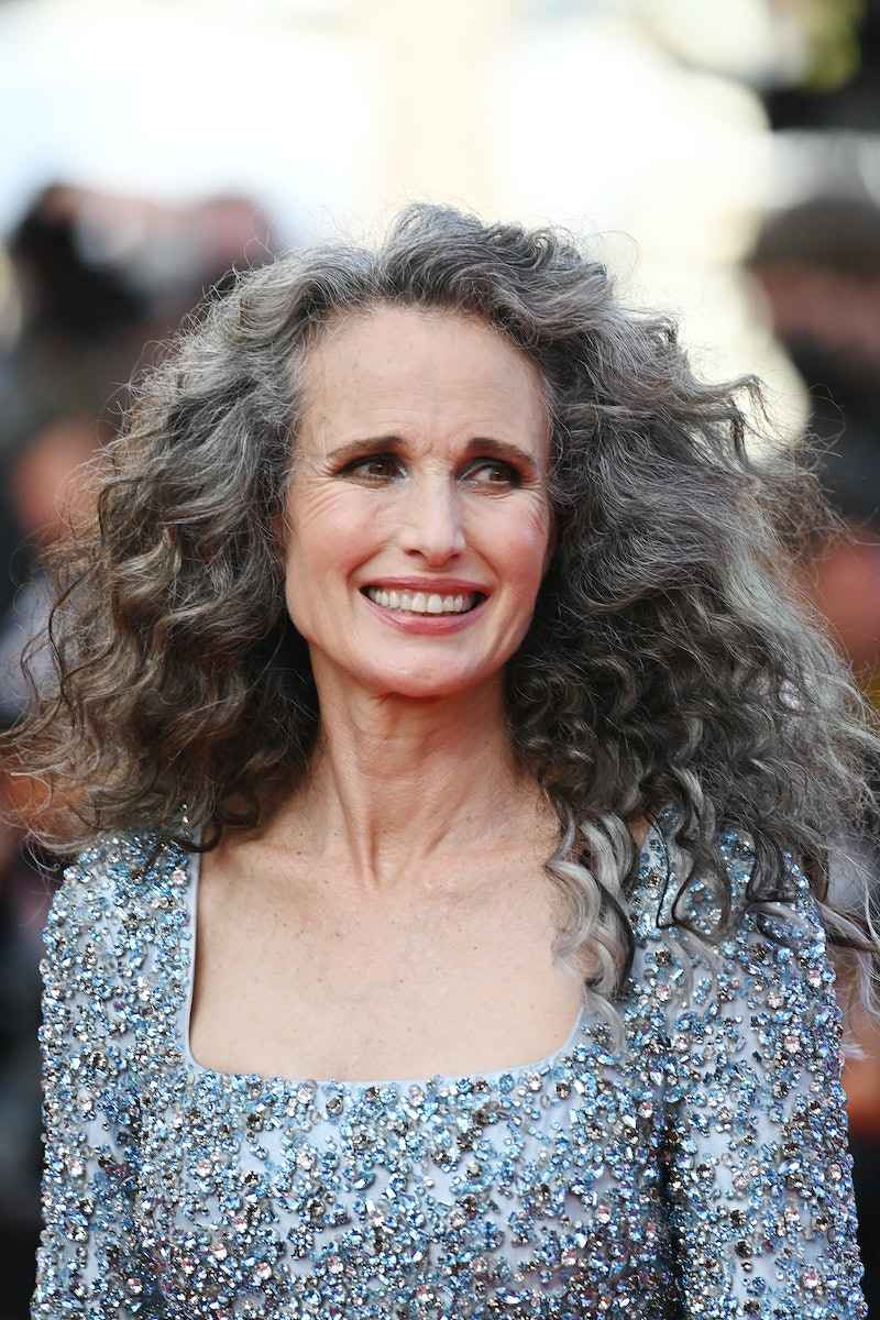 """CANNES, FRANCE - JULY 06: Andie MacDowell attends the """"Annette"""" screening and opening ceremony during the 74th annual Cannes Film Festival on July 06, 2021 in Cannes, France. (Photo by Kate Green/Getty Images)"""