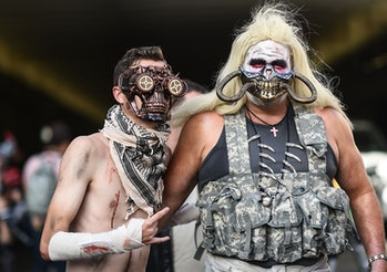 """NEW YORK, NY - OCTOBER 07:  Comic Con cosplayers dressed as characters from """"Mad Max"""" pose during th..."""