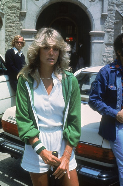 Farrah Fawcett wore her now iconic feathered bangs in the '70s.