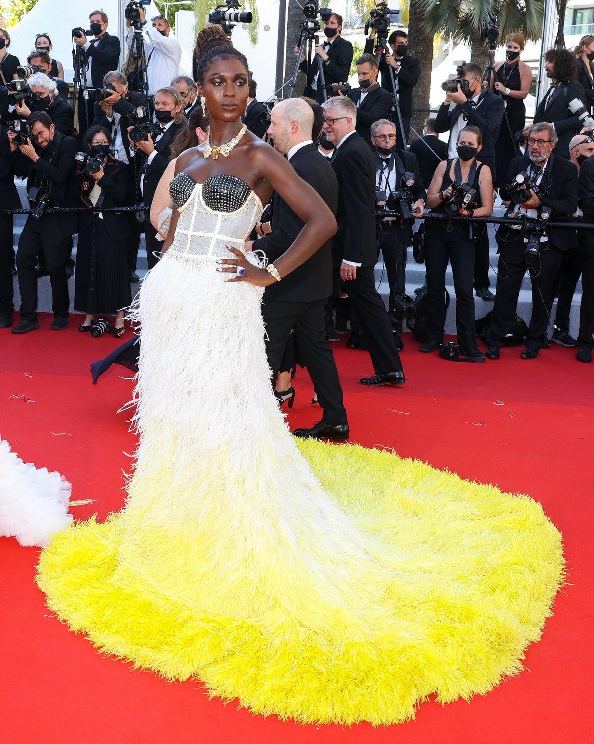 """CANNES, FRANCE - JULY 08: Jodie Turner-Smith attends the """"Stillwater"""" screening during the 74th annual Cannes Film Festival on July 08, 2021 in Cannes, France. (Photo by Mike Marsland/WireImage)"""