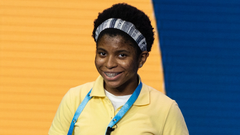 Zaila Avant-garde competes in the first round of the the Scripps National Spelling Bee finals in Orl...