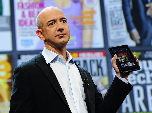 Amazon CEO Jeff Bezos introduces the new Kindle Fire tablet in New York, on September 28, 2011. The ...
