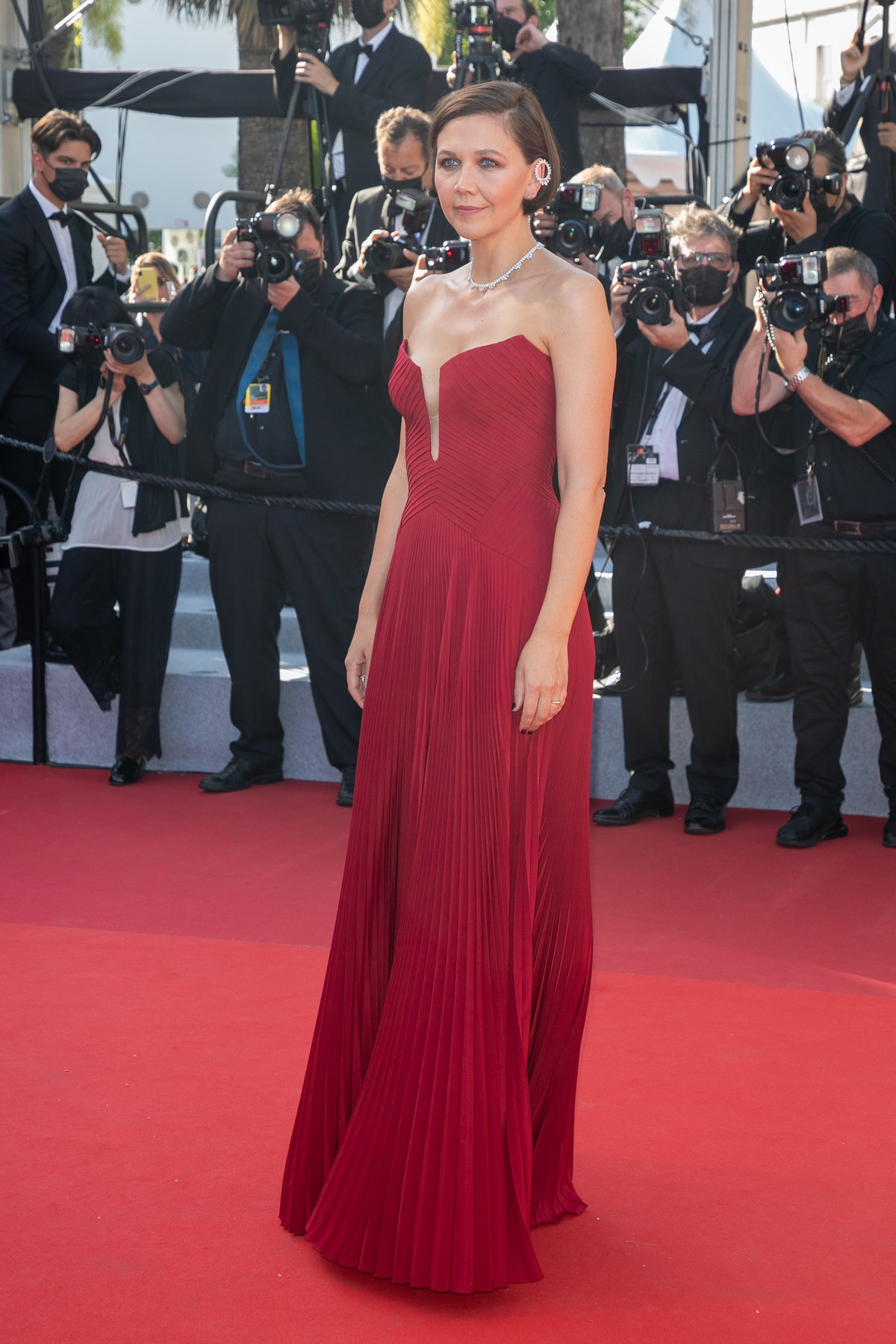 """CANNES, FRANCE - JULY 09: Actress Maggie Gyllenhaal attends the """"Benedetta"""" screening during the 74th annual Cannes Film Festival on July 09, 2021 in Cannes, France. (Photo by Marc Piasecki/FilmMagic)"""