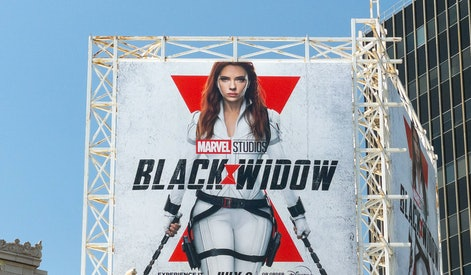 HOLLYWOOD, CA - JUNE 22: View of a billboard above the El Capitan Entertainment Centre promoting Marvel Studios' 'Black Widow' on June 22, 2021 in Hollywood, California.  (Photo by AaronP/Bauer-Griffin/GC Images)