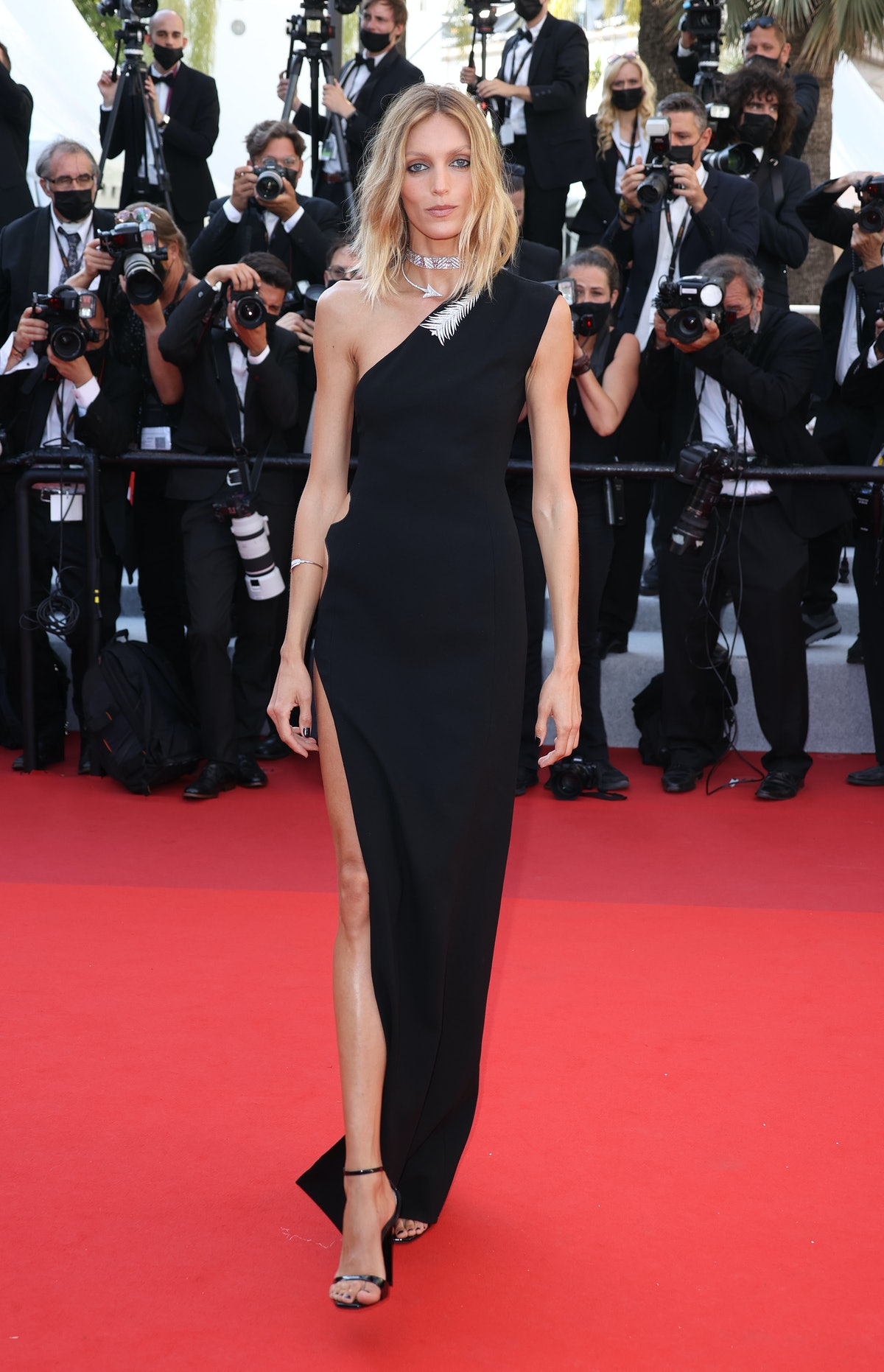 """CANNES, FRANCE - JULY 09: Anja Rubik attends the """"Benedetta"""" screening during the 74th annual Cannes Film Festival on July 09, 2021 in Cannes, France. (Photo by Mike Marsland/WireImage)"""