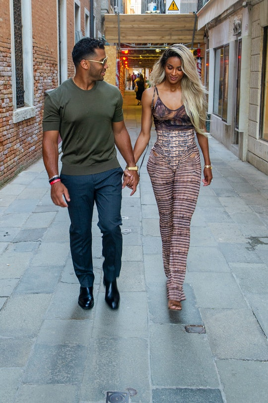 VENICE, ITALY - JULY 02: Russell Wilson and Ciara arrive at the Harry's Bar for a dinner on July 02,...