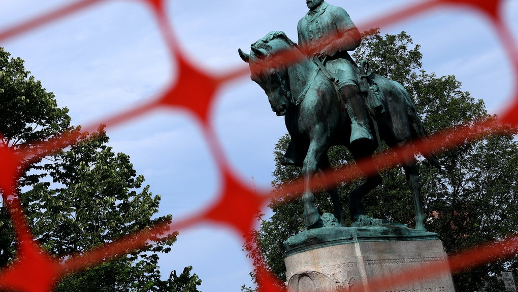 CHARLOTTESVILLE, VIRGINIA - JULY 09:  A statue of Confederate Gen. Robert E. Lee is shown in Market ...