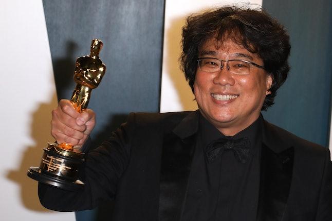 BEVERLY HILLS, CALIFORNIA - FEBRUARY 09:   South Korean director Bong Joon-Ho poses with the Oscar f...