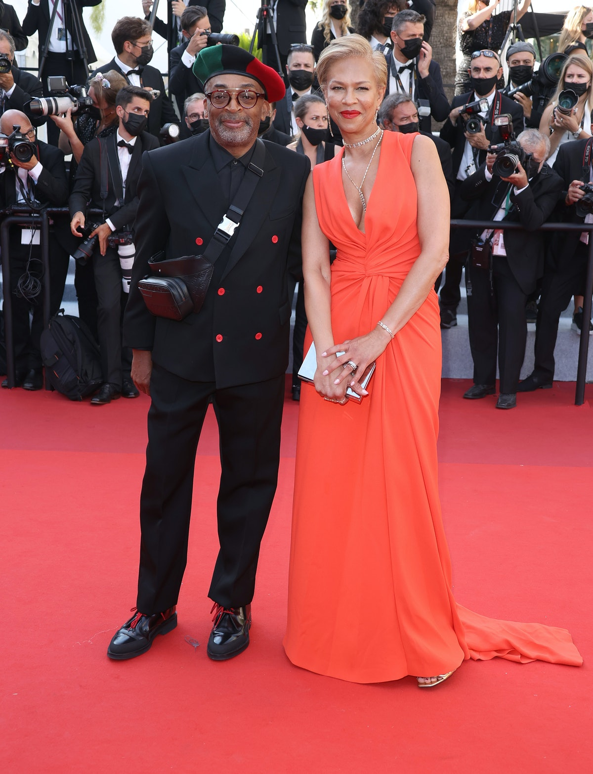 """CANNES, FRANCE - JULY 09: Spike Lee and Tonya Lewis Lee attend the """"Benedetta"""" screening during the 74th annual Cannes Film Festival on July 09, 2021 in Cannes, France. (Photo by Mike Marsland/WireImage)"""