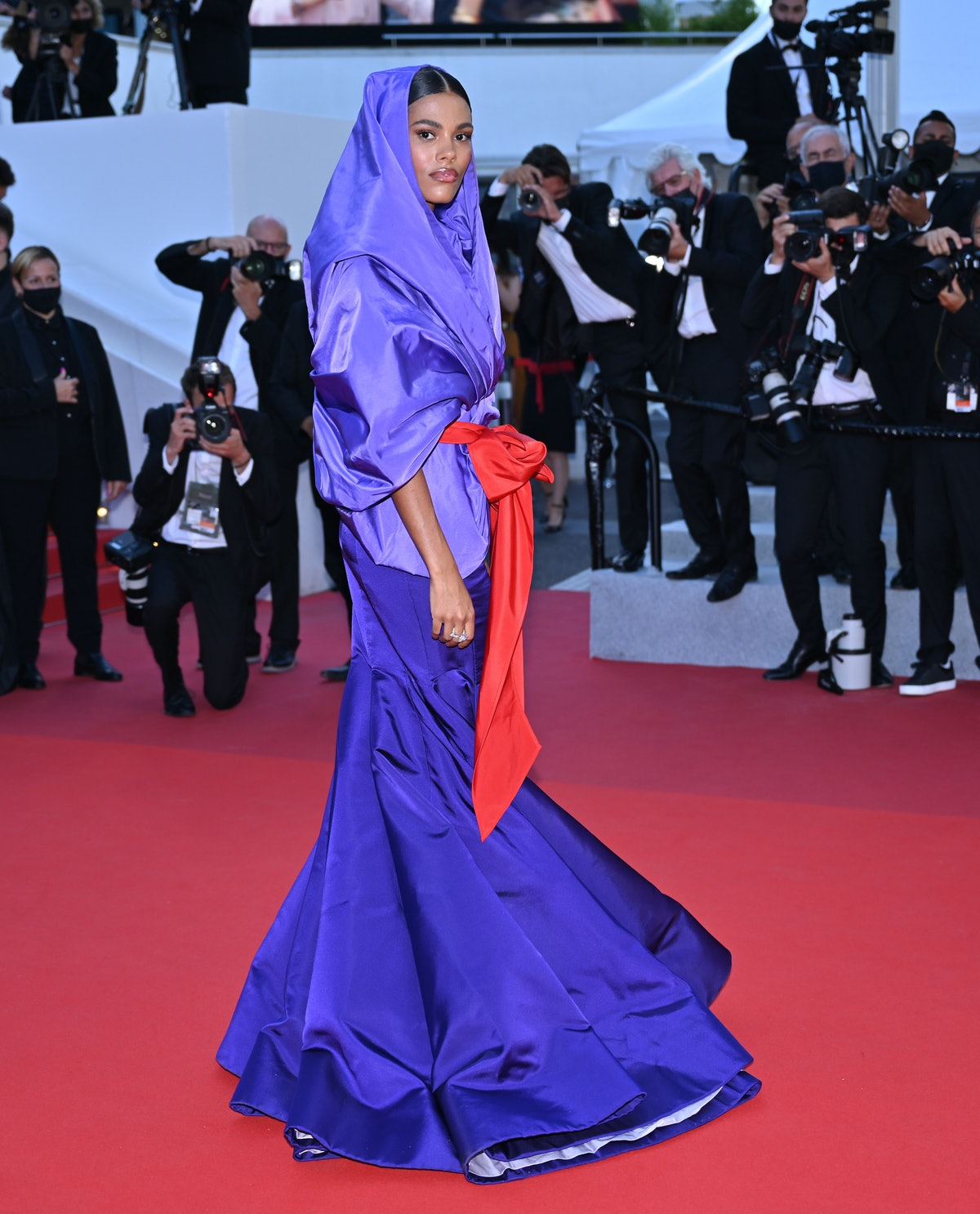 CANNES, FRANCE - JULY 09: French model Tina Kunakey arrives for the screening of The film âBenedetta' in the competition at the 74th annual Cannes Film Festival in Cannes, France on July 09, 2021 (Photo by Mustafa Yalcin/Anadolu Agency via Getty Images)