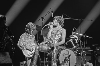 English singer Mick Jagger (right) of the Rolling Stones performs with guitarist Mick Taylor at the ...
