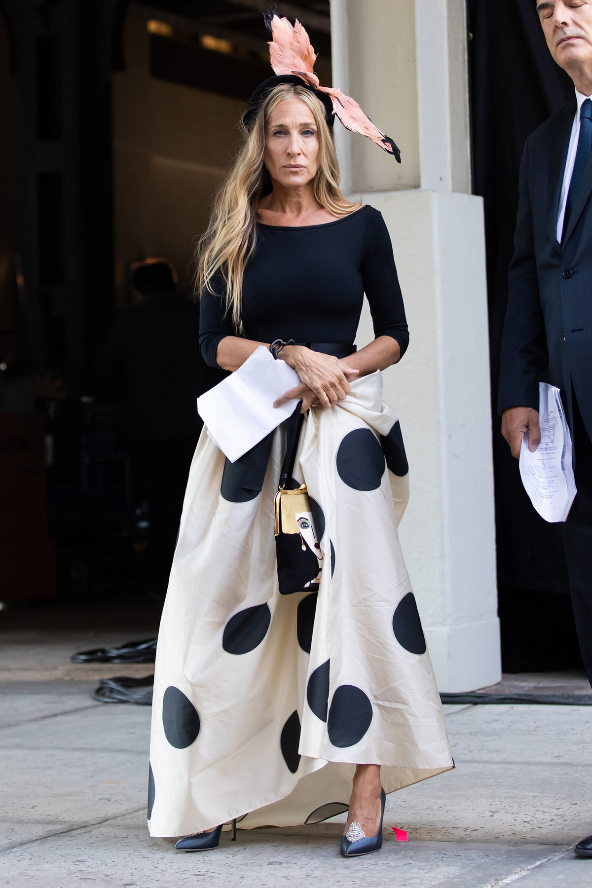 """Sarah Jessica Parker seen filming """"And Just Like That..."""" in New York City in August 2021."""