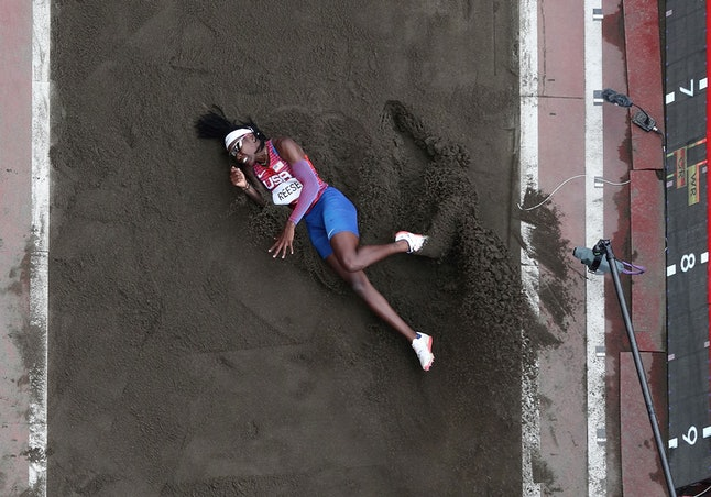 Brittney Reese of the United States competes during the women's long jump final at Tokyo 2020 Olympi...