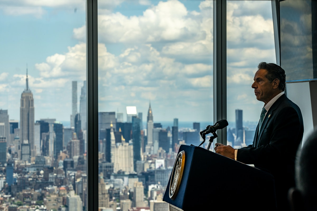 NEW YORK, NY - JUNE 15: New York Gov. Andrew Cuomo speaks during a press conference at One World Tra...