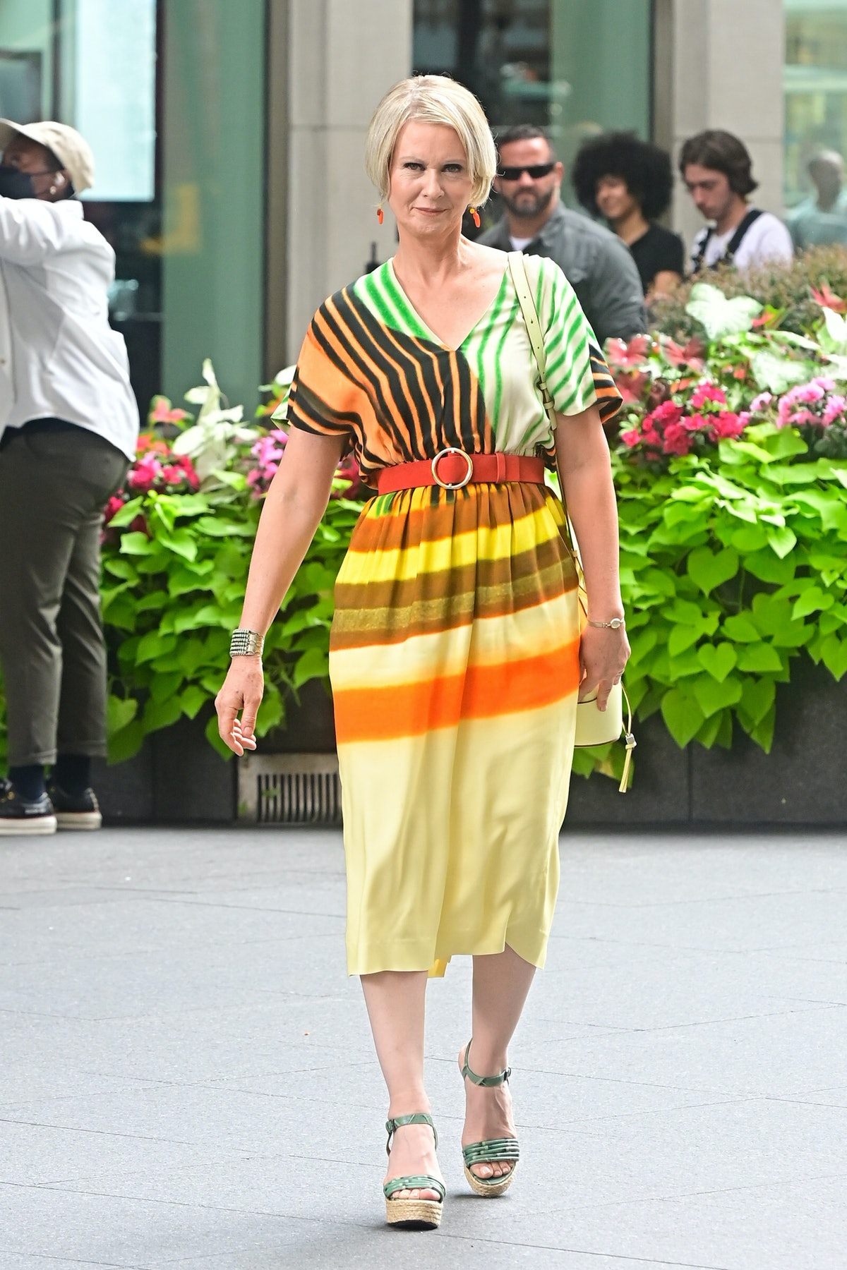 """Cynthia Nixon seen on the set of """"And Just Like That..."""" in Midtown Manhattan in New York City on Ju..."""
