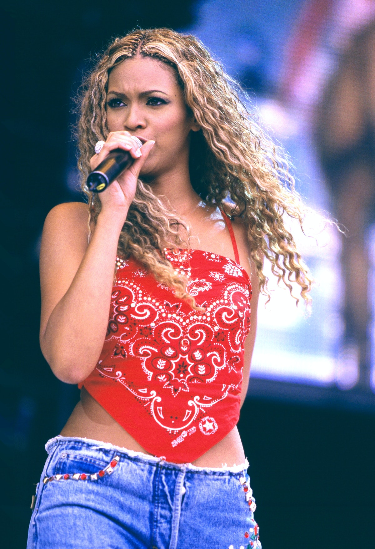 Beyonce of Destiny's Child performs at Party in the Park in Hyde Park, on 9th July, 2000 in London, ...
