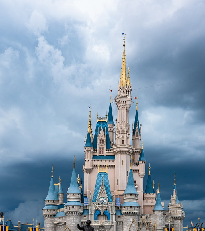 ORLANDO, FLORIDA, UNITED STATES - 2019/07/17: The Cinderella Castle during an overcast day is seen i...