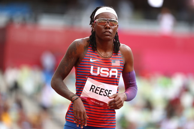 TOKYO, JAPAN - AUGUST 03: Brittney Reese of Team United States looks on while competing in the Women...