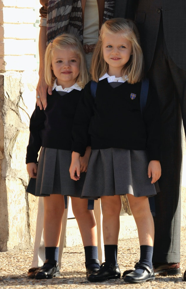 Princess Leonorand Princess Sofia of Spain arrive to their first day of school in school uniforms of...