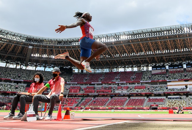 TOKYO, JAPAN - AUGUST 03: Brittney Reese of Team United States competes in the Women's Long Jump Fin...