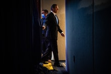 WASHINGTON, DC - MAY 27: New York Gov. Andrew Cuomo departs after a press conference on the COVID-19...