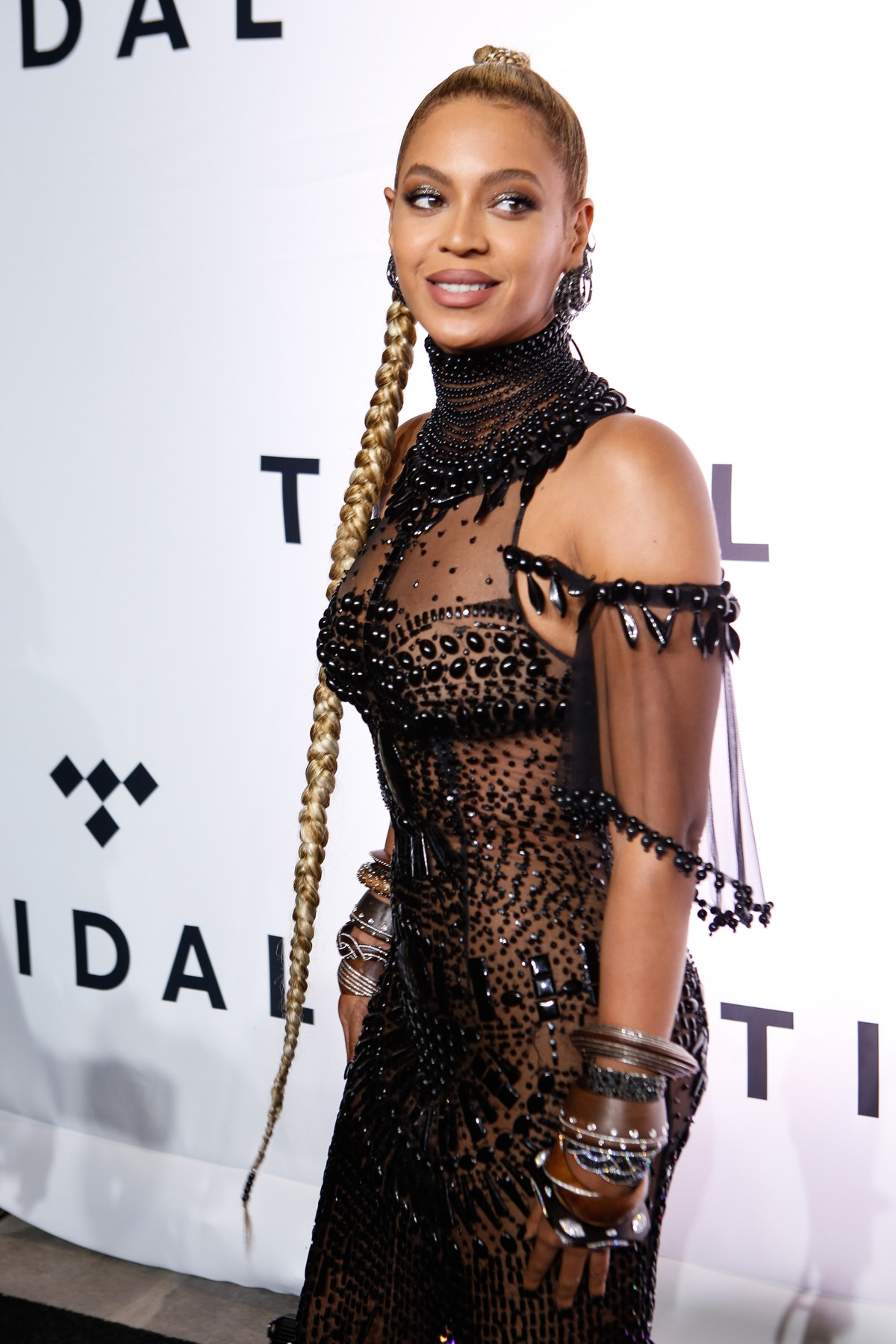 Beyonce attends the TIDAL's Second Annual Philanthropic Festival in a black gown at Barclays Center ...
