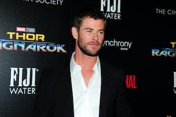NEW YORK, NY - OCTOBER 30:  Chris Hemsworth attends The Cinema Society with FIJI Water, Men's Journa...