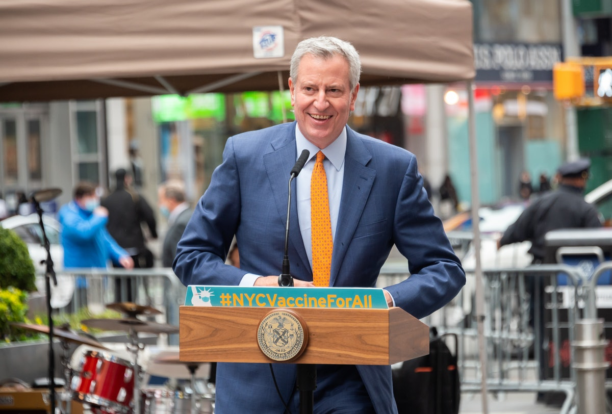 NEW YORK, NEW YORK - APRIL 12: Mayor of New York City Bill de Blasio speaks during the opening of a ...