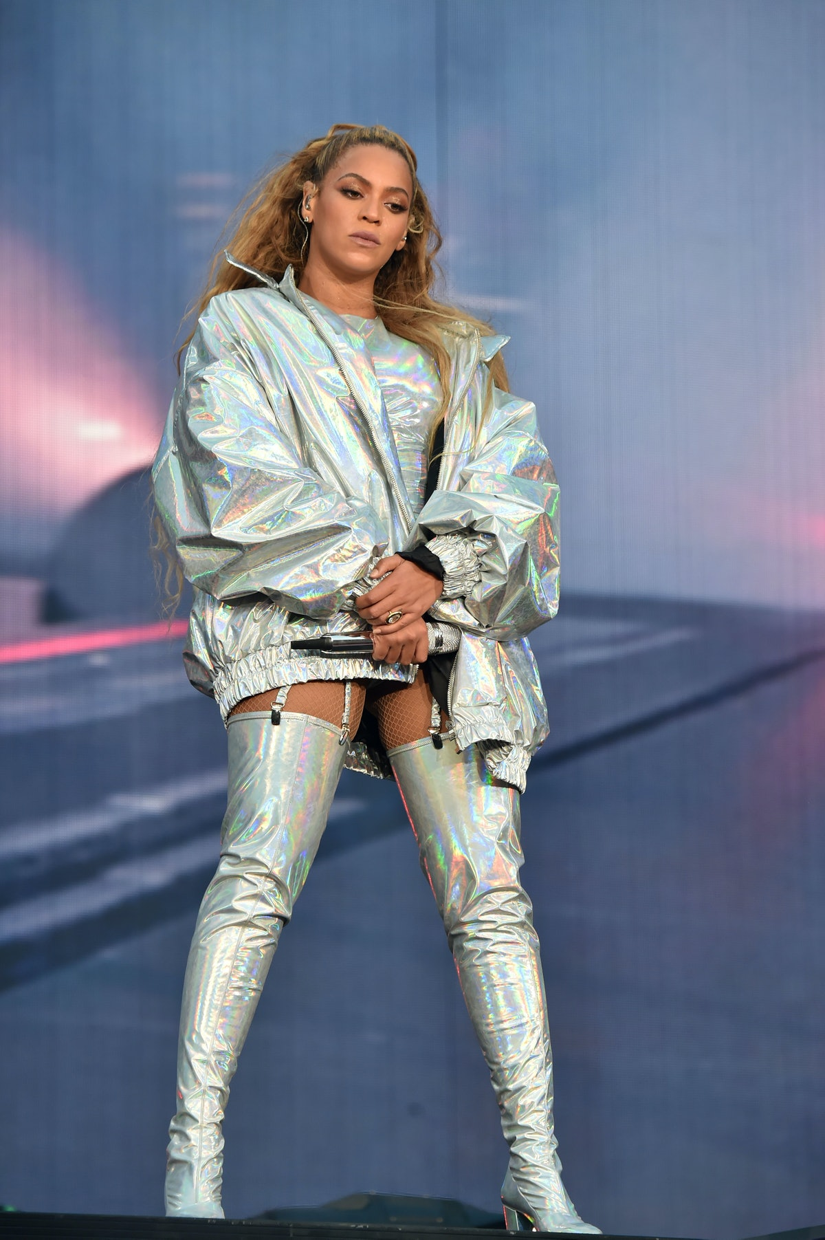 """Beyonce performs on stage during the """"On the Run II"""" Tour with Jay-Z at Hampden Park on June 9, 2018..."""