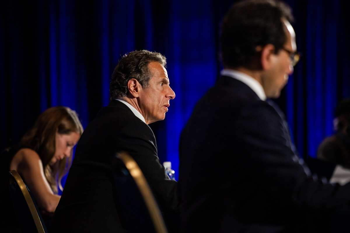 WASHINGTON, DC - MAY 27: New York Gov. Andrew Cuomo speaks during a press conference on the COVID-19...
