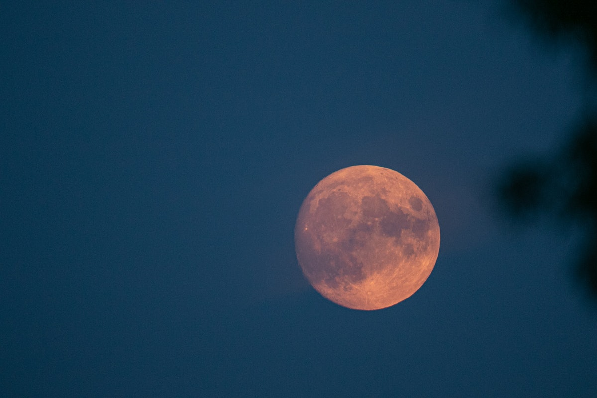 Pink moon at sunset on Friday the 13th 2021.