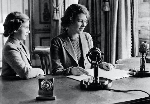 Princess Elizabeth speaks to children during the Blitz in 1940.