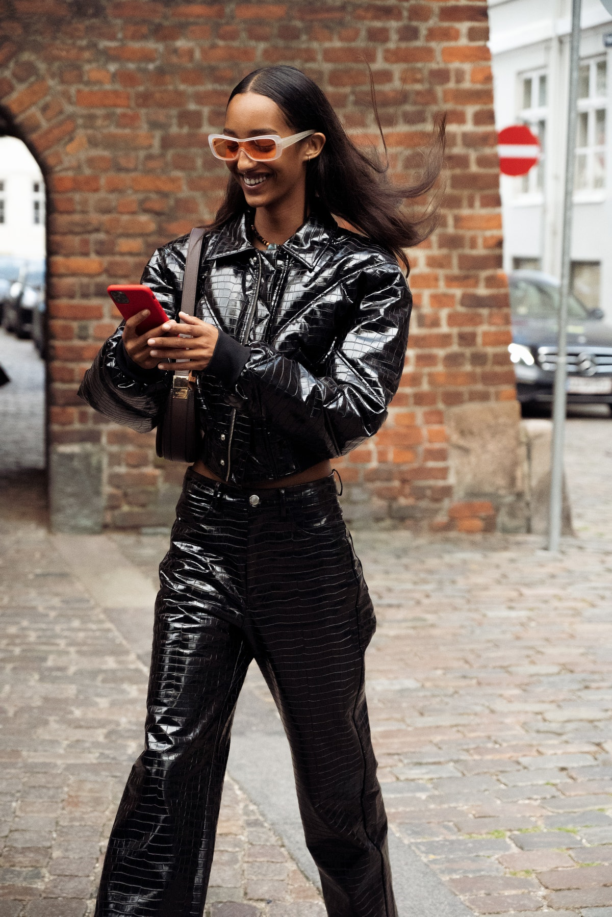 COPENHAGEN, DENMARK - AUGUST 10: Model wearing black leather costume outside Remain during Copenhage...