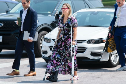 UNITED STATES - AUGUST 10: Sen. Kyrsten Sinema, D-Ariz., is seen outside the U.S. Capitol before the...