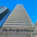 The New York Times Building is seen in New York City on February 4, 2021. (Photo by Daniel SLIM / AF...