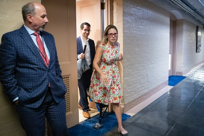 UNITED STATES - JUNE 20: Sen. Kyrsten Sinema, D-Ariz., departs from a meeting with a bipartisan grou...