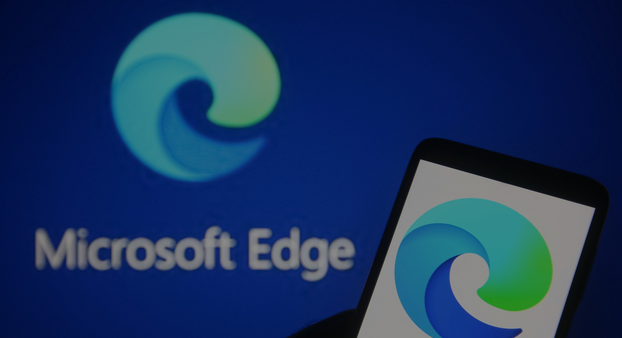 UKRAINE - 2021/07/20: In this photo illustration a Microsoft Edge logo of a web browser developed by...