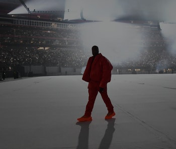 ATLANTA, GEORGIA - JULY 22: Kanye West is seen at 'DONDA by Kanye West' listening event at Mercedes-...