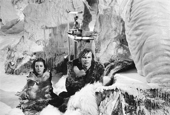 Actors Michael York and Jenny Agutter star in the dystopian science fiction film 'Logan's Run', 1976...