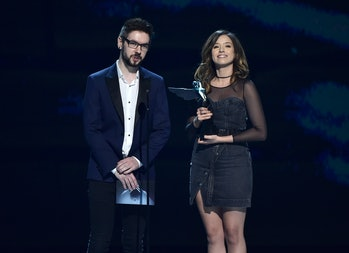 LOS ANGELES, CALIFORNIA - DECEMBER 06: JackSepticEye and Pokimane attend The 2018 Game Awards at Mic...