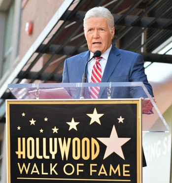 HOLLYWOOD, CALIFORNIA - NOVEMBER 01: Alex Trebek speaks at Harry Friedman Honored With A Star On The...