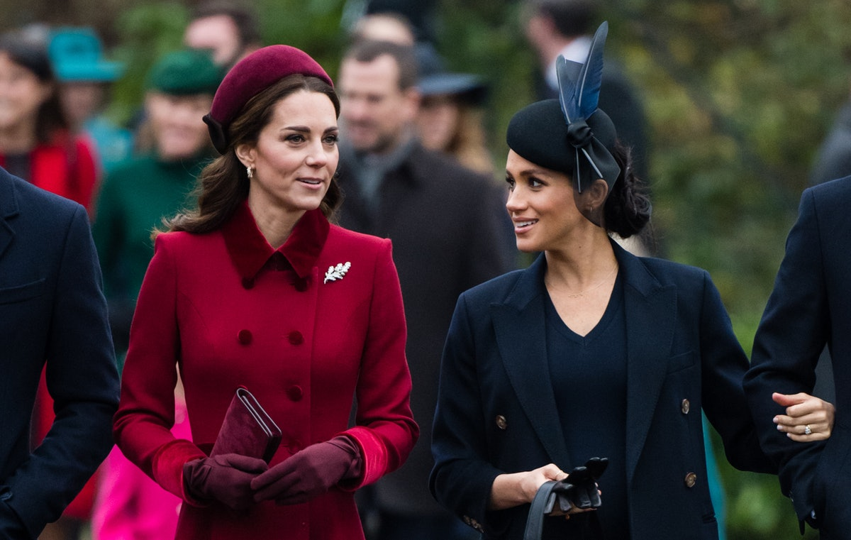 KING'S LYNN, ENGLAND - DECEMBER 25: Catherine, Duchess of Cambridge and Meghan, Duchess of Sussex at...