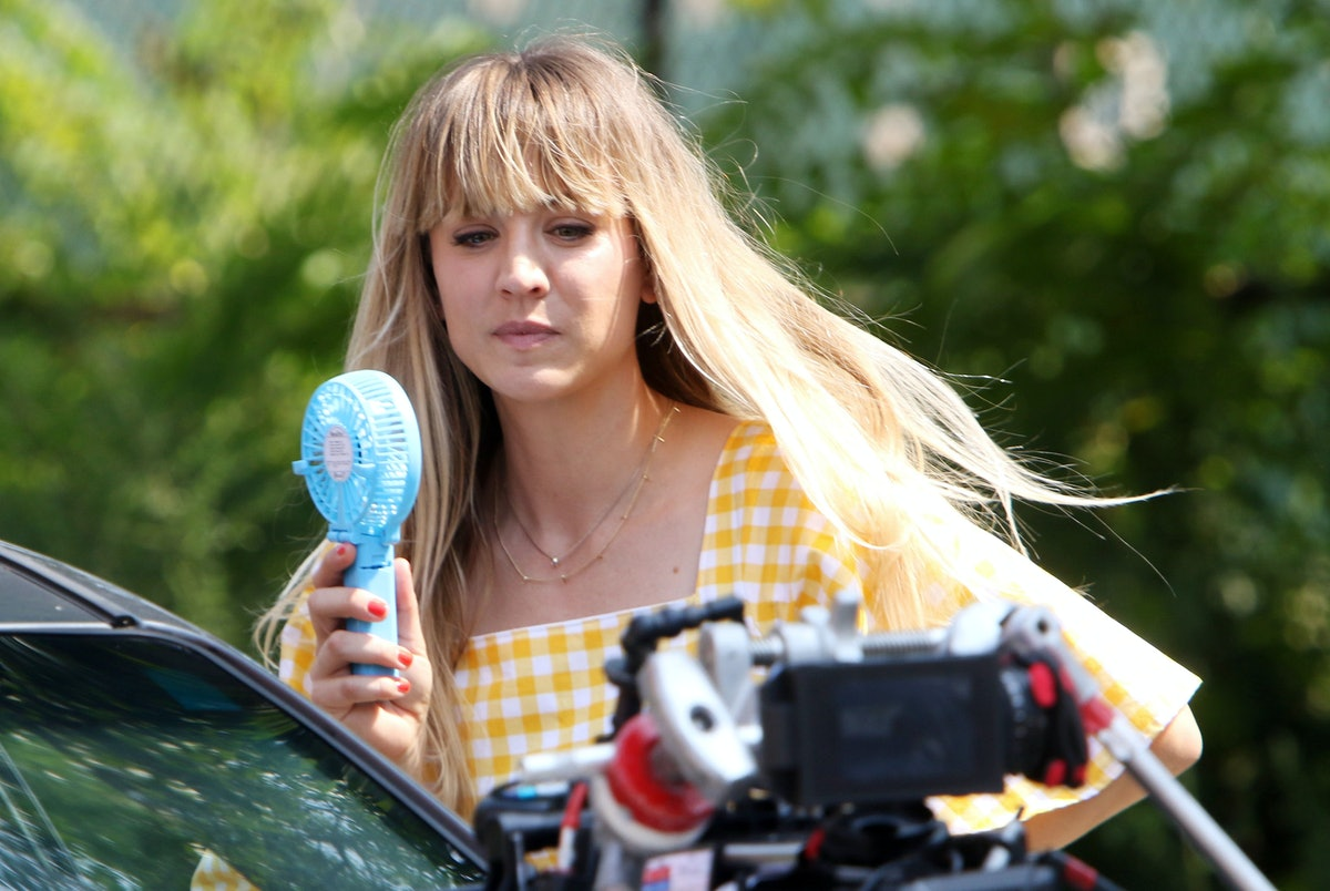 """NEW YORK, NY - AUGUST 11: Kaley Cuoco is seen on the set of """"Meet Cute""""on August 11, 2021 in New Yor..."""